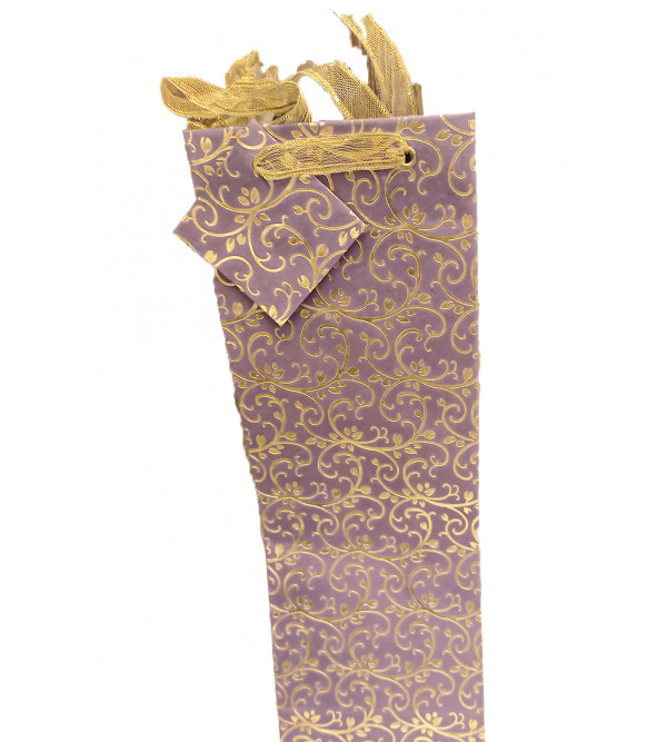 600570 Wine Bottle Paper Bag with ribbon handles.size 37x12.5x8cms