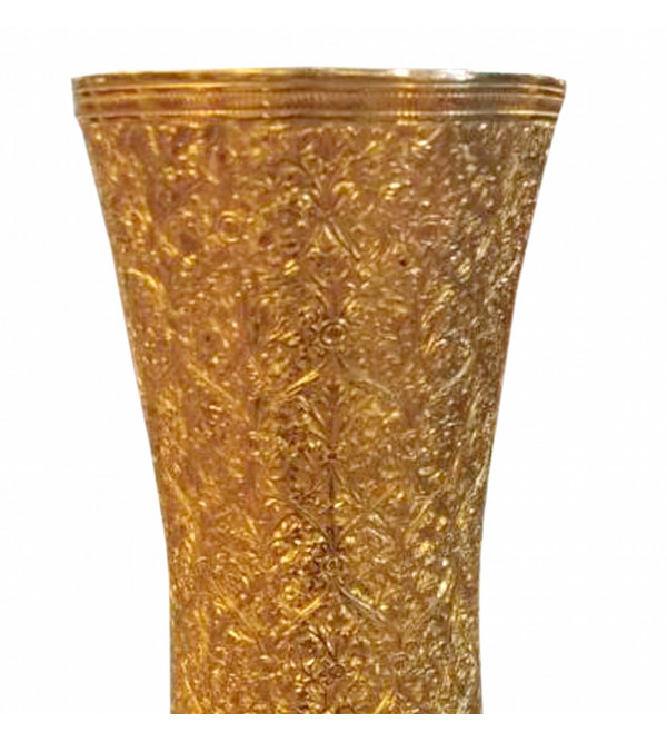 Handicraft Brass Flower Vase Gold Plated Badrum Fine Marori Work 10 Inch