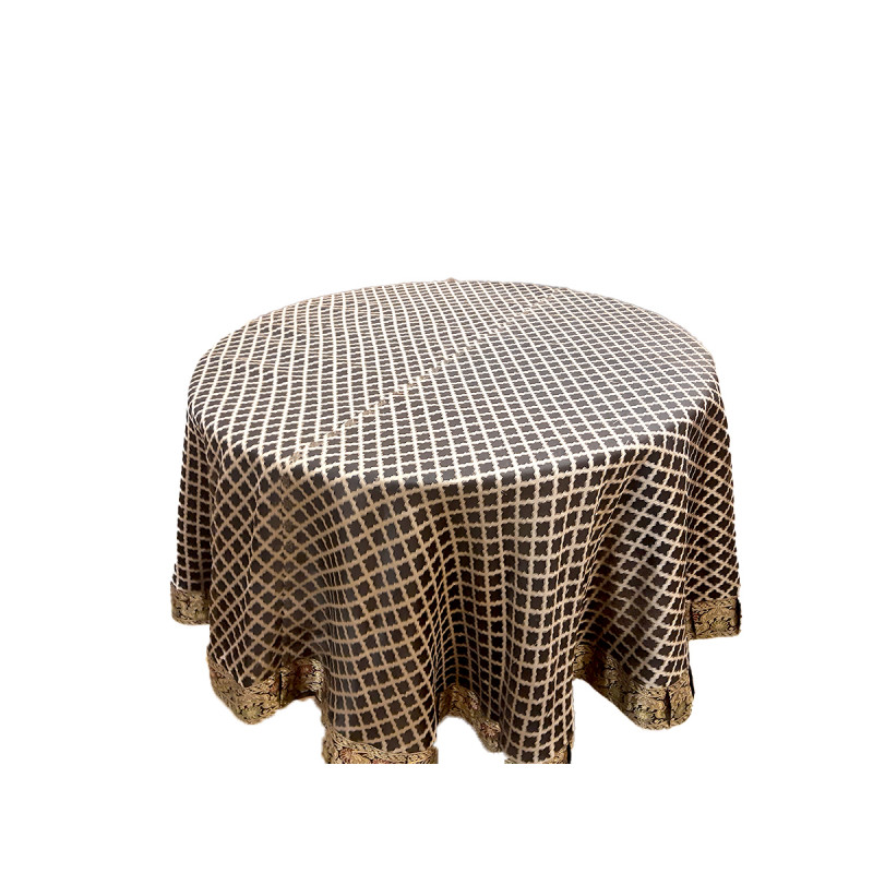 Silk Brocade Handwoven Table Cover Size 72 Inch Round