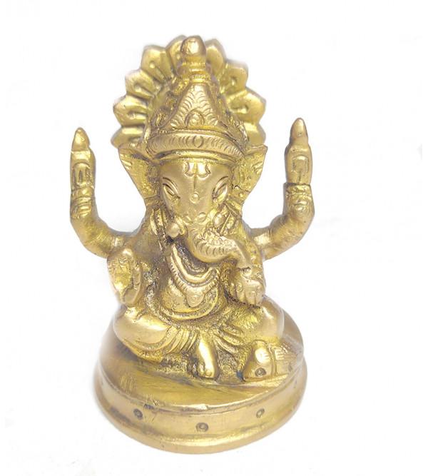 Ganesh Sitting Handcrafted In Brass