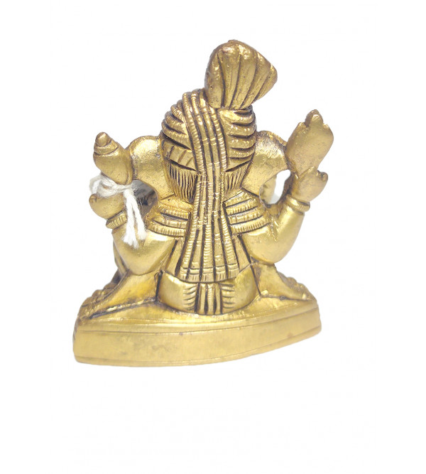 Ganesha With Pagri Baseless Handcrafted In Brass