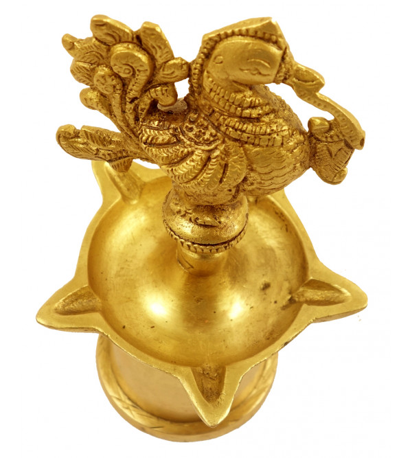 Handicraft Brass Peacock Oil Lamp 6.5 Inch
