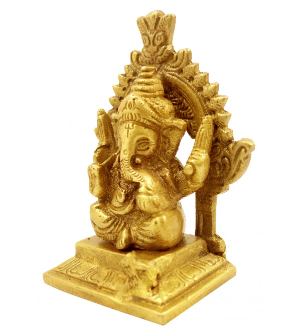 Handicraft Brass Sitting Ganesh 4 Inch