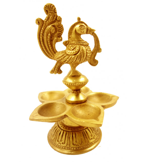 Handicraft Brass Peacock Oil Lamp 5.5 Inch