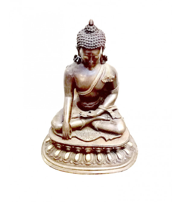 Buddha Double Lotus Handcrafted In Brass Size 20 Inches