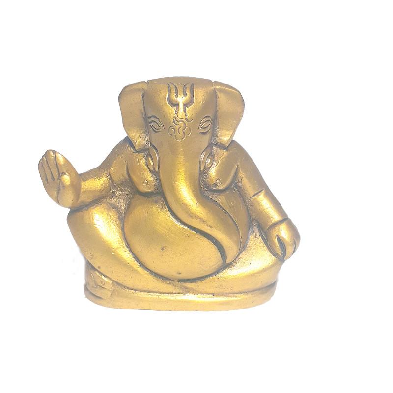 Ganesha Sitting Handcrafted In Brass