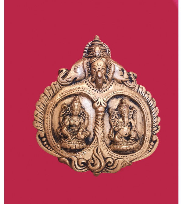Ganesh And Laxmi Handcrafted In Brass Size 6 Inches
