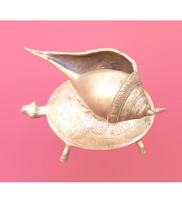 Tortoise Shankh Handcrafted In Brass