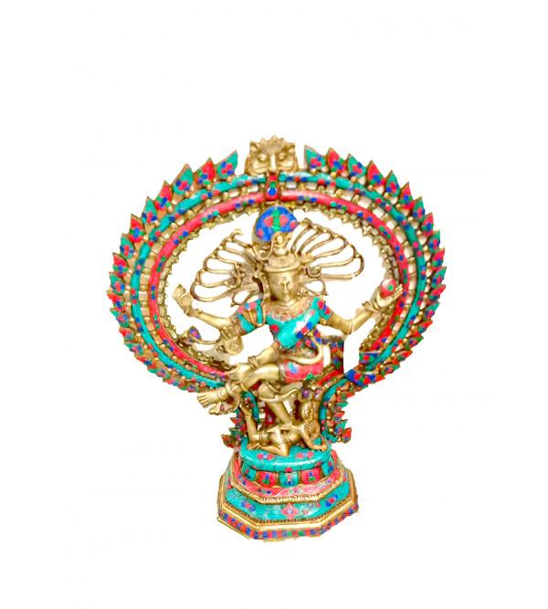 Brass Natraj oval ring leaf design flower 28 inch stone
