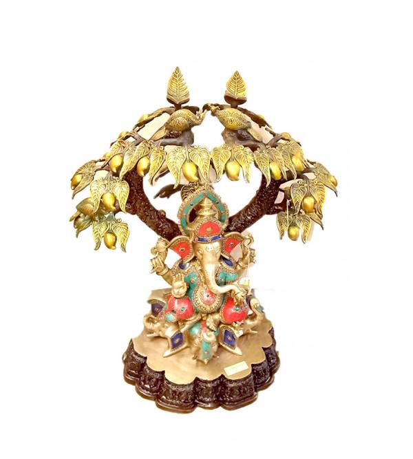Brass Ganesha under tree stone work 29 inch