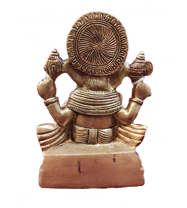 Ganesha Sitting On Chair Base Handcrafted In Brass Size 5.2 Inches