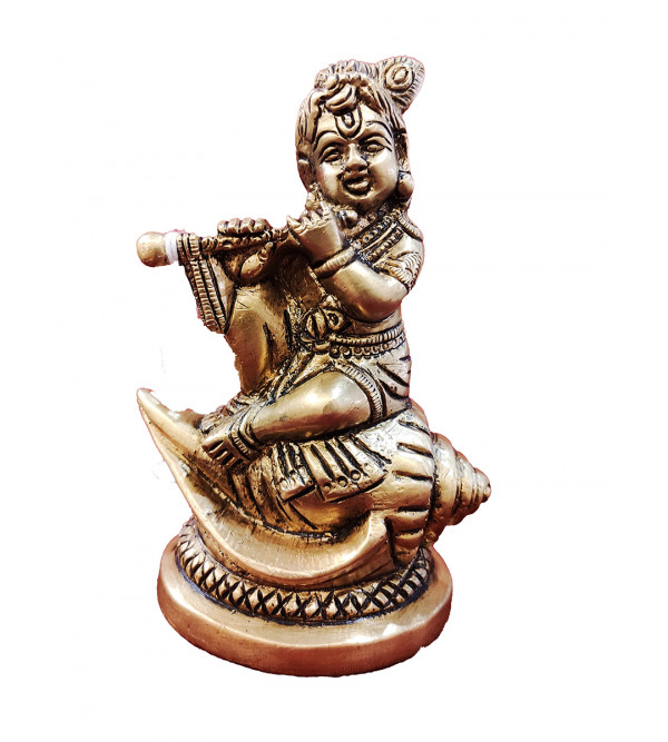 Brass Handcrafted Krishna from Aligarh Size 4.5 Inches