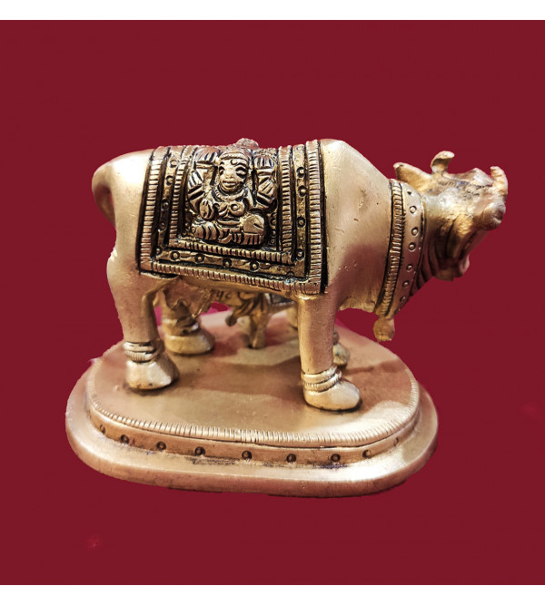 BRASS COW STANDING WITH CALF FINEHEART SHAPE BASE 4X2.5 INCH