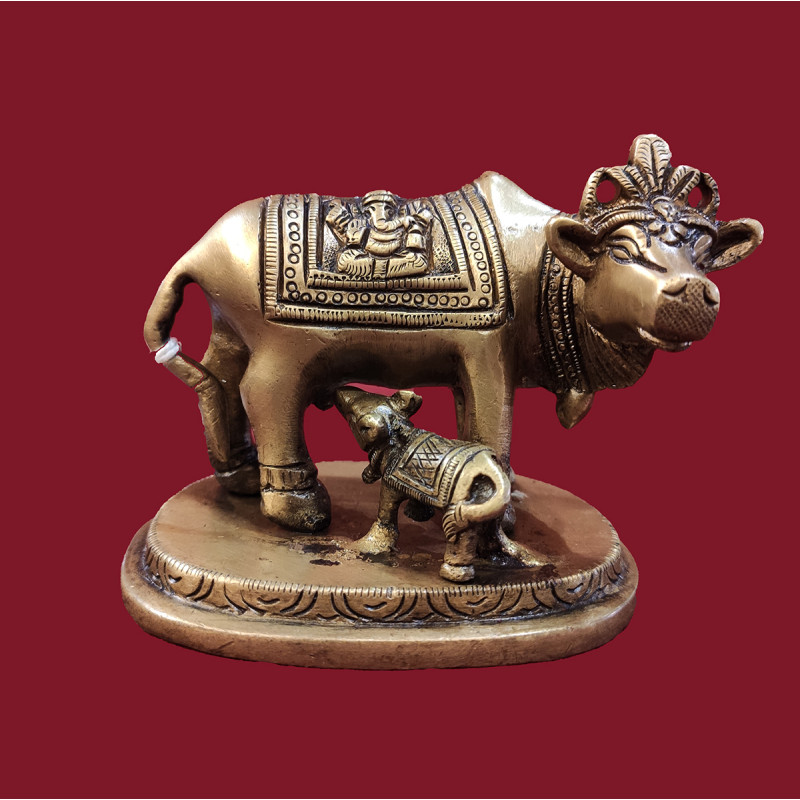Cow Standing With Calf On Heart Shape Base Handcrafted In Brass Size 3.5X2.5 Inches