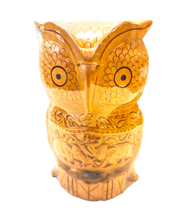Kadamba Wood Handcrafted Carved Owl with Jaali work