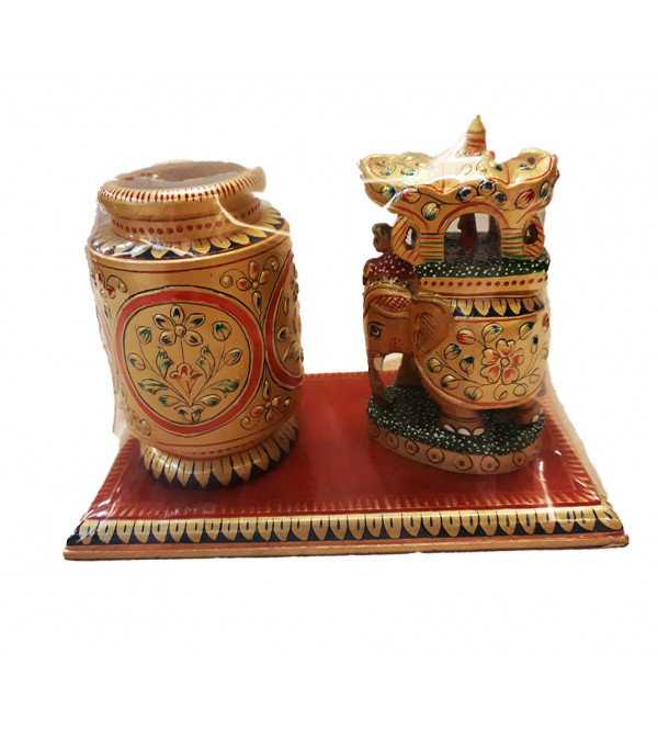 Kadamba Wood Handcrafted and Hand Painted Decorative Pen Stand