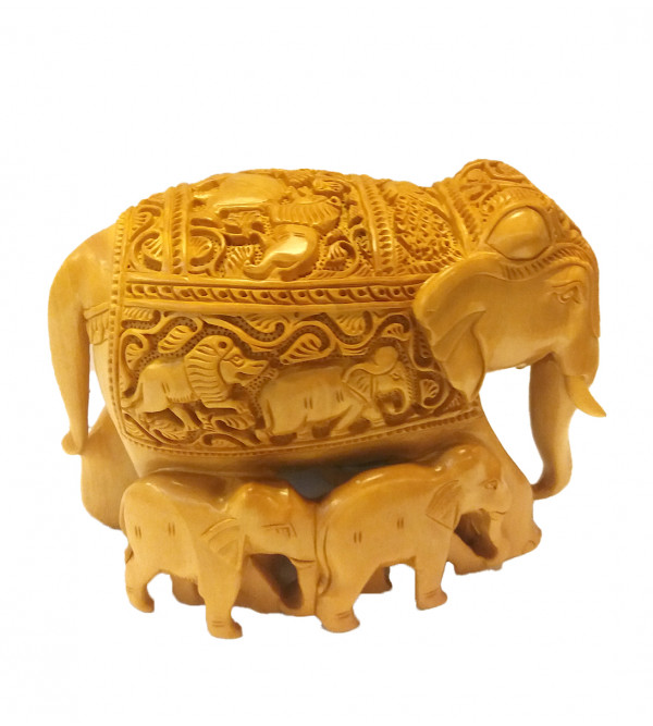 Hand carved elephant wooden 6 inch