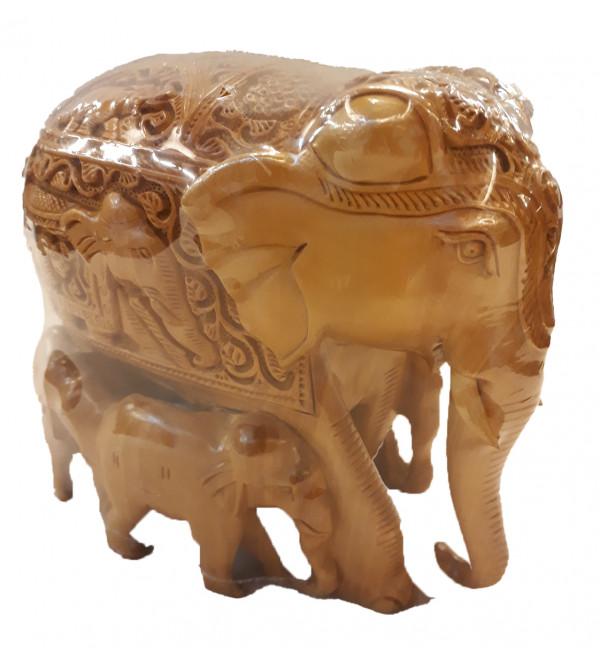 Kadamba Wood Handcrafted Carved Elephant with Baby Elephant