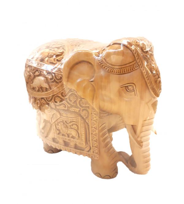 ELEPHANT DEEP CARVED KADAM WOOD 8 INCH
