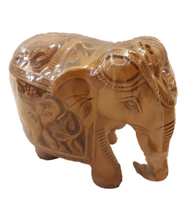 ELEPHANT DEEP CARVED KADAM WOOD 3.5 INCH