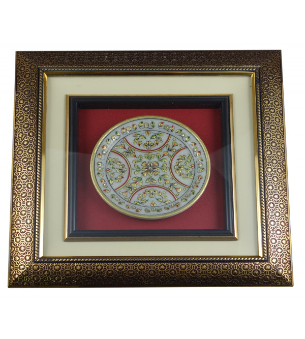 MARBLE PLATE FLORAL WITH GOLD LEAF WITH FRAME