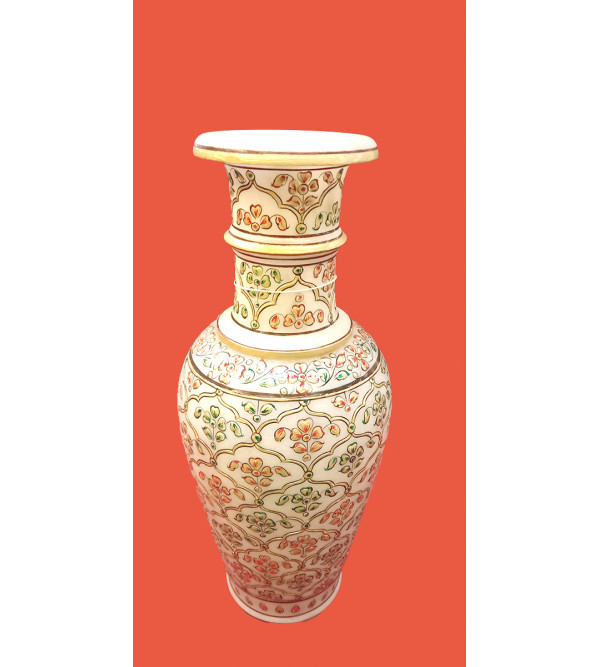 Marble Vase Handcrafted With Gold Leaf Work Size 12 Inches