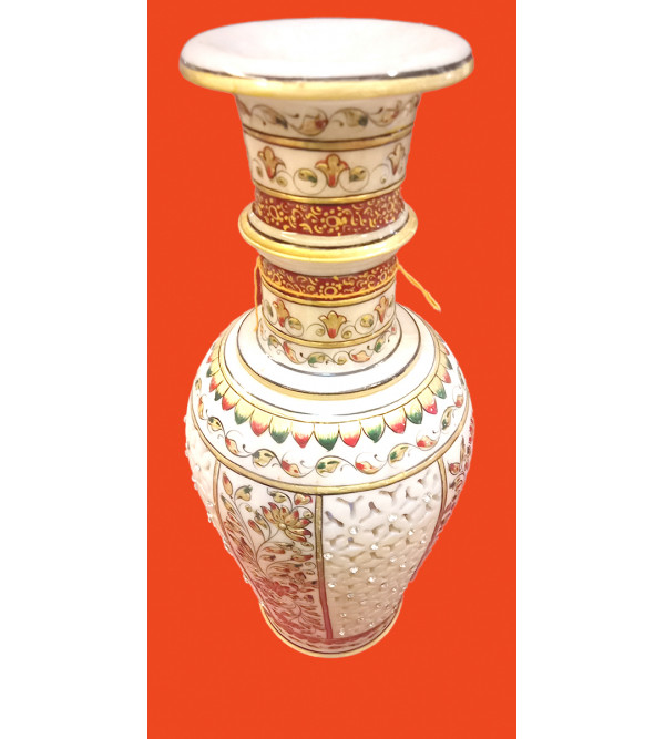 Marble Vase Handcrafted With Gold Leaf Work