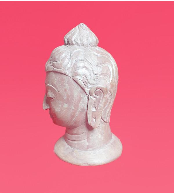 Handcrafted Kuchila Soft Stone Buddha Head Size 6 Inch