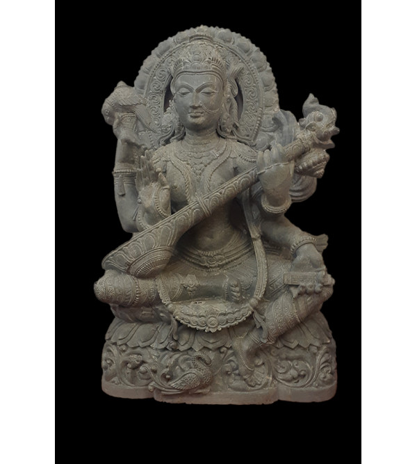 Soft Stone Hand Carved Sarasvati From Orrisa Size...Inch
