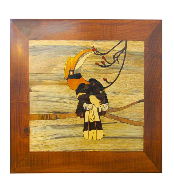 Multiple Wood Inlay Bird panel Size 12x12 Inch