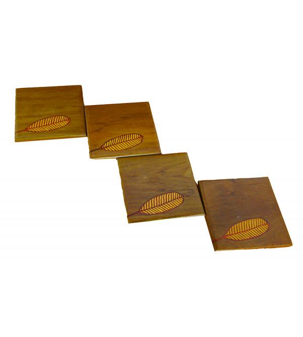 Neem Wood Inlay Coaster Size 4 x4 Inch
