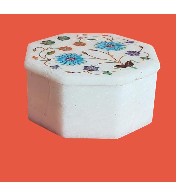 Marble Box With Semi Precious Stone Inlay Work Size 4x4 Inch