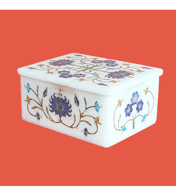 MARBLE box 4x3inch with semi precious stone inlay