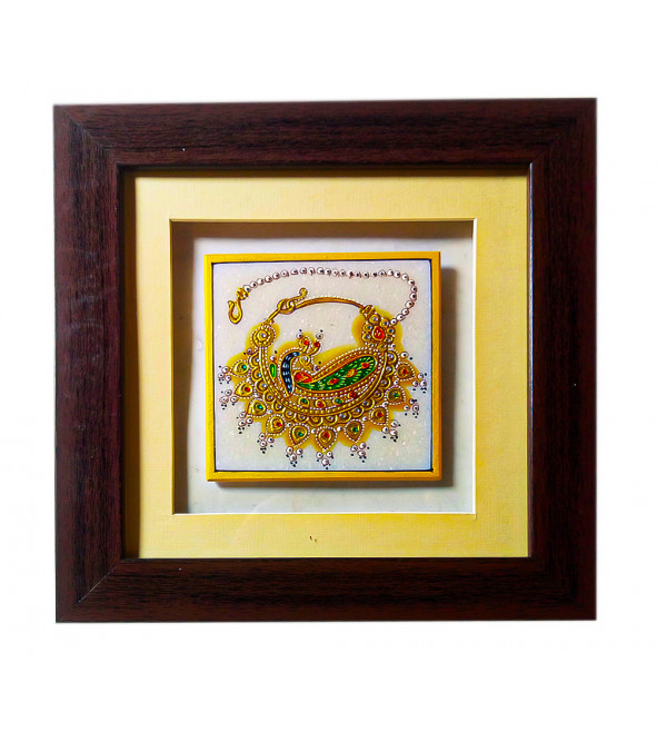 Marble jewellery painting with pure gold leaf work