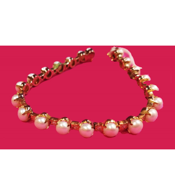 Silver Bracelet With Gold Plated And Pearls