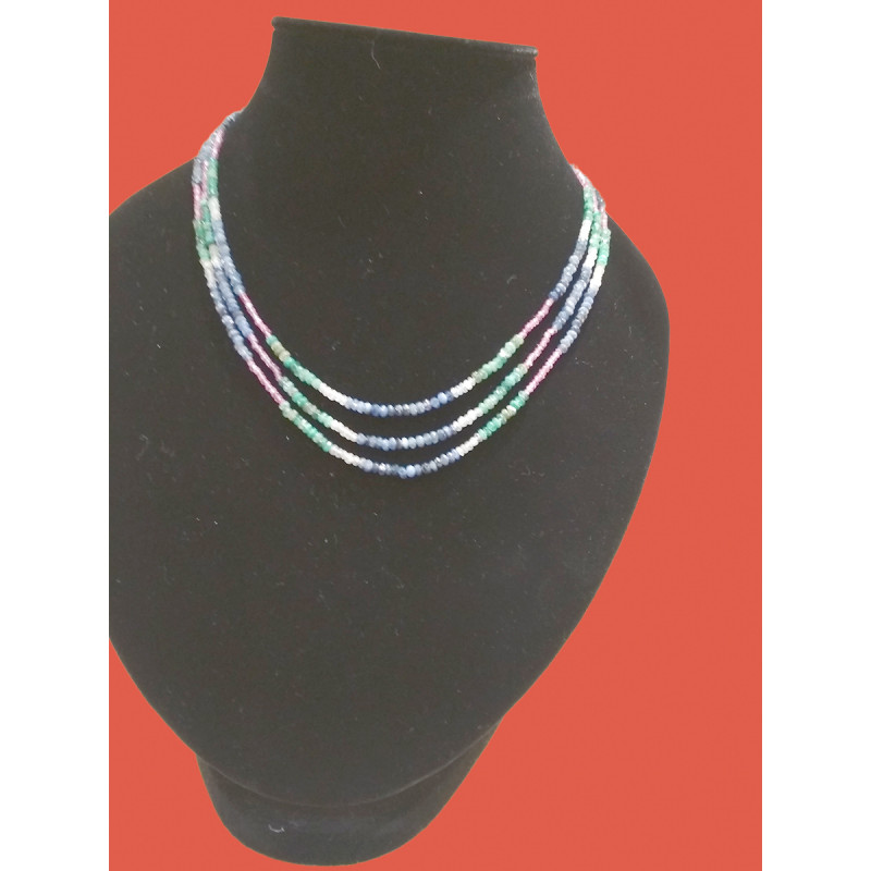 Multi color precious  stones with three lyers neclace