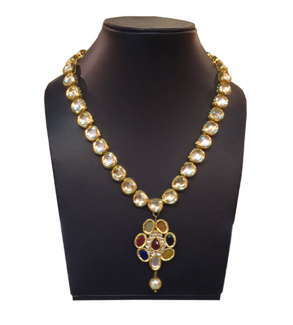 HANDICRAFT NECKLACE METAL KUNDAN gold plated set ruby empearl