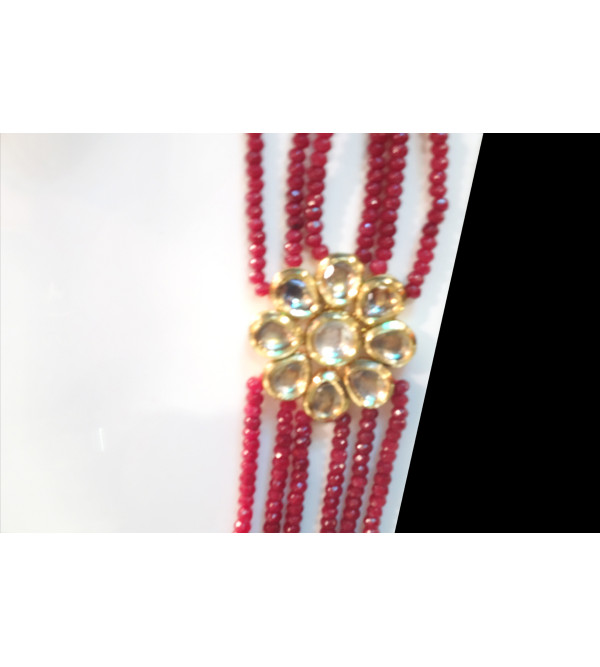 HANDICRAFT NECKLACE METAL KUNDAN gold plated set ruby empearl