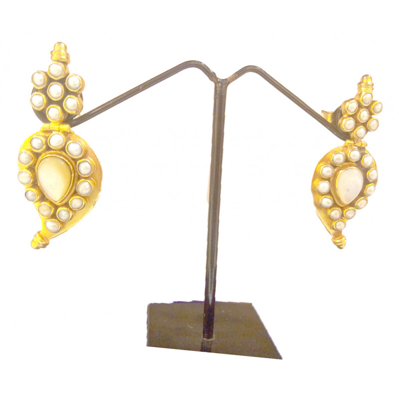 SILVER EARRING GOLD PLATED WITH W HITE PEARL
