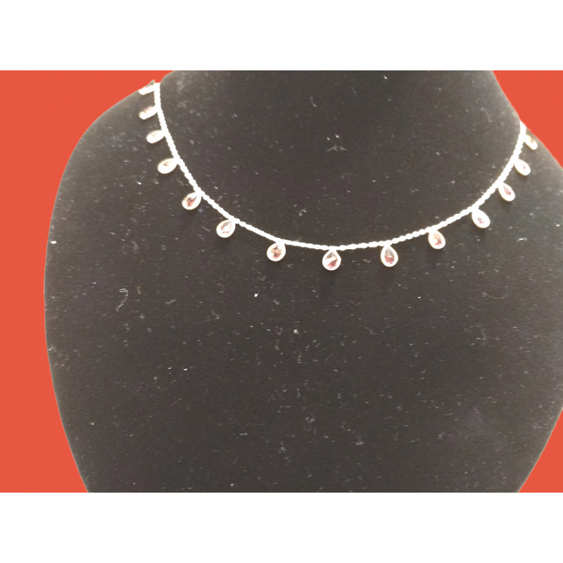 Silver Stone Chain with Assorted Colour Stone 18 Inch