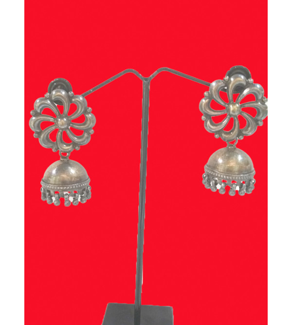 SILVER EARRING  JHUMKI WITH FLOWER TOP IN GOLD RODIUM