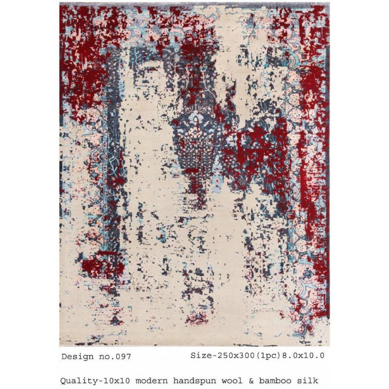 Modern Design Woollen Hand Knotted Carpet From Mirzapur Size 8x10 Feet