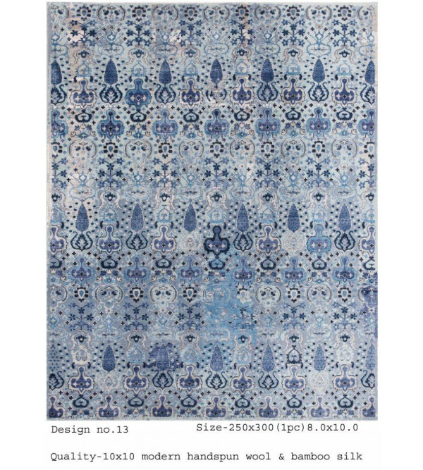 Modern Design Woollen Hand Knotted Carpet From Mirzapur Size 8x10 Feet