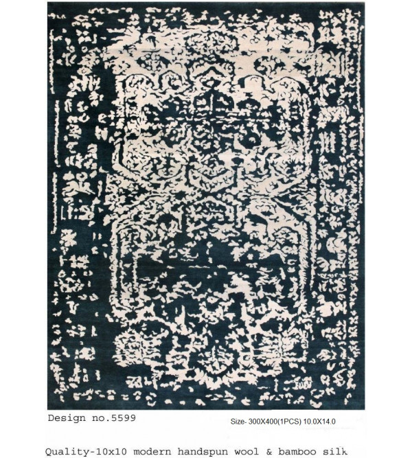 Modern Design Woollen Hand Knotted Carpet From Mirzapur Size 10.0x14.0 Feet