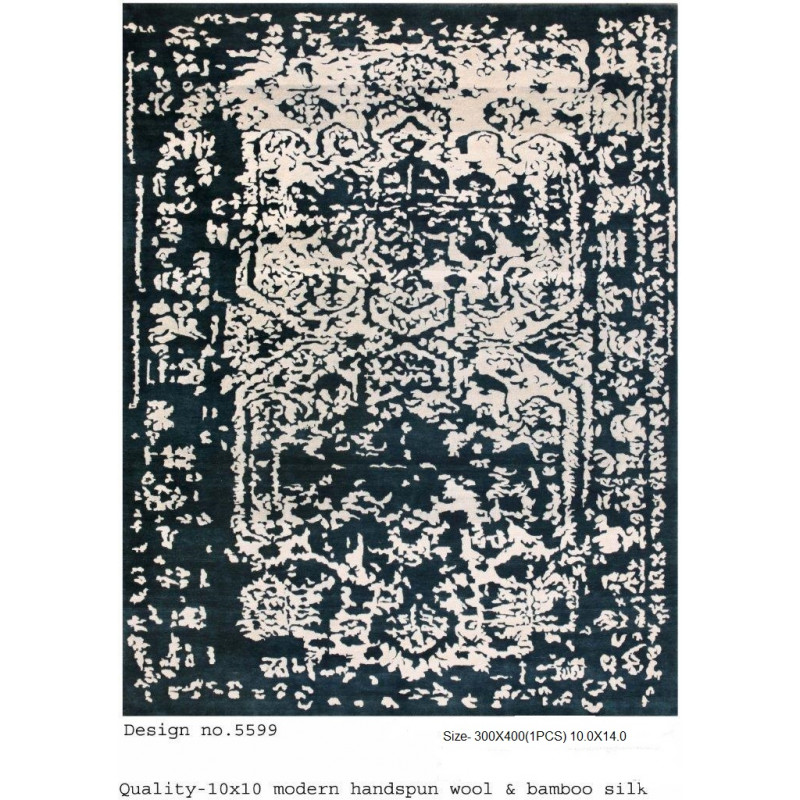 Modern Design Woollen Hand Knotted Carpet From Mirzapur Size 10.0x14.0 Feet