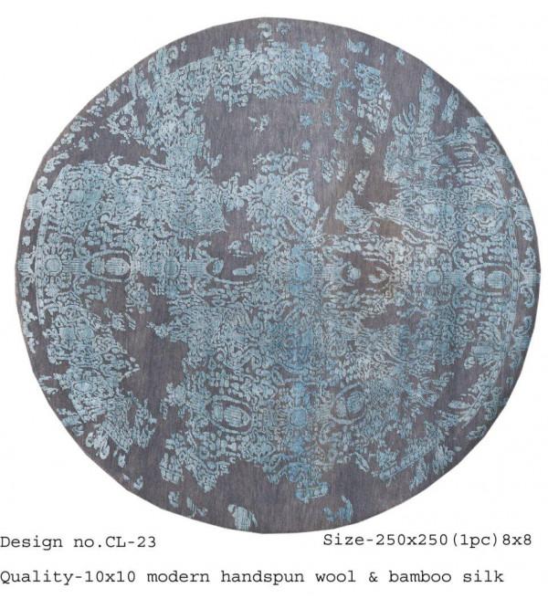 Modern Design Woollen Hand Knotted Carpet From Mirzapur Size 8x8 Feet