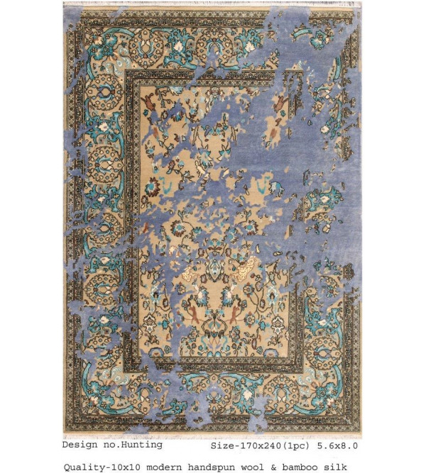 Modern Design Woollen Hand Knotted Carpet From Mirzapur Size 5.6x8.0 Feet