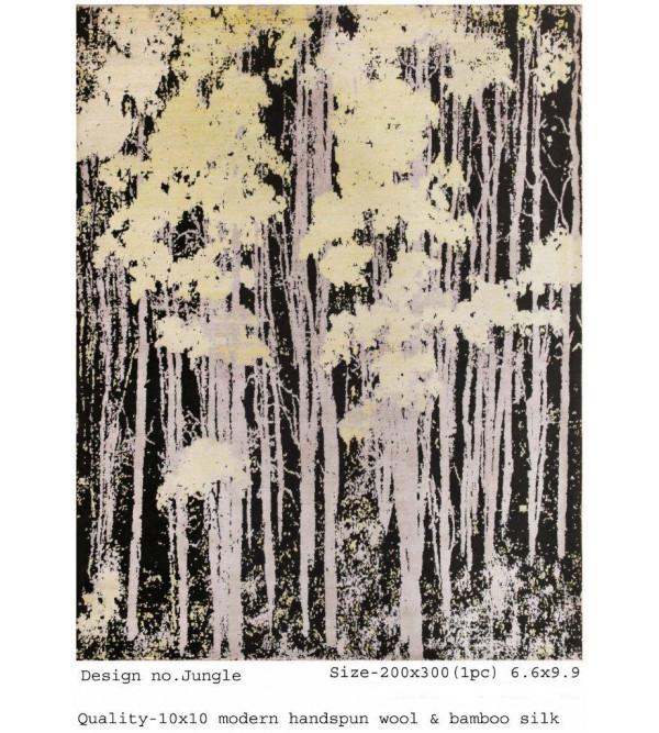 Modern Design Woollen Hand Knotted Carpet From Mirzapur Size 6.6x9.9 Feet