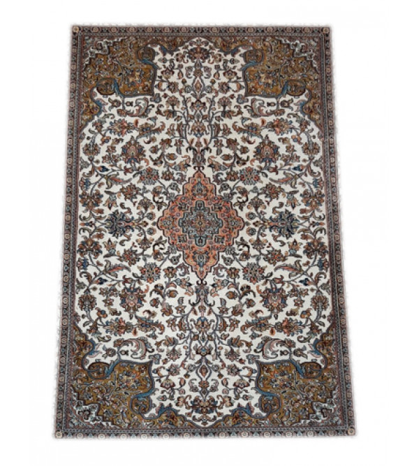 Handicraft Kasmir Cotton Silk Ivory Base Carpets 2.5x4 Ft