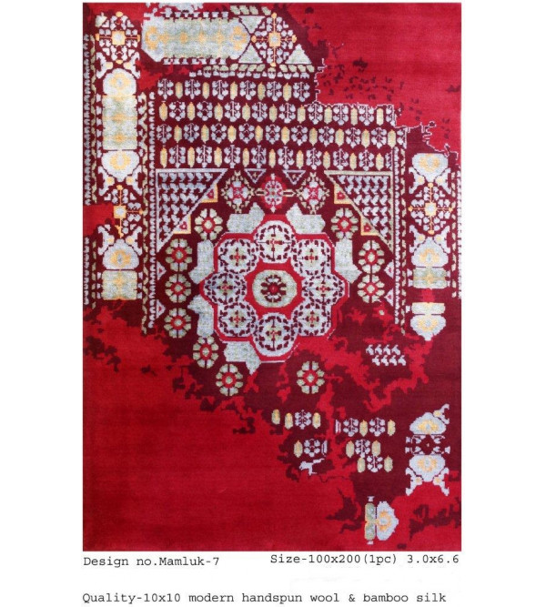 Modern Design Woollen Hand Knotted Carpet From Mirzapur Size 3.0x6.6 Feet